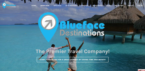 Website design for www.bluefacedestinations.com